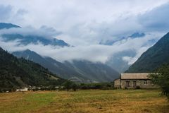 Colorful landscapes with mountain and rural houses in the Svaneti region in Georgia royalty free stock image