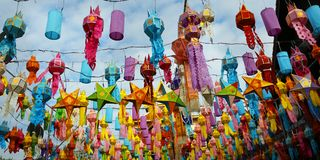 Colorful lantern during Loy krathong festival. chiang mai , Thailand. Colorful lantern hanged in buddhist temple during Loy krathong festival. chiang mai royalty free stock image