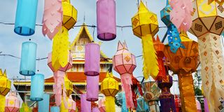 Colorful lantern during Loy krathong festival. chiang mai , Thailand. Colorful lantern hanged in buddhist temple during Loy krathong festival. chiang mai stock photos