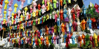 Colorful lantern during Loy krathong festival. chiang mai , Thailand. Colorful lantern hanged in buddhist temple during Loy krathong festival. chiang mai stock photo
