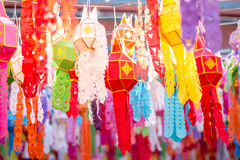 Colorful lantern. In Thai temple Royalty Free Stock Photos