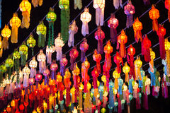 Colorful lantern. In Thai temple at night Stock Images
