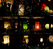 The colorful lanterns. In the window of a souvenir shop Stock Image