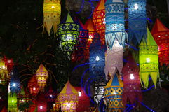 Colorful lanterns. Hanging in a tree on a turkish market Royalty Free Stock Photos