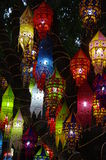 Colorful lanterns. Hanging in a tree on a turkish market Royalty Free Stock Photo