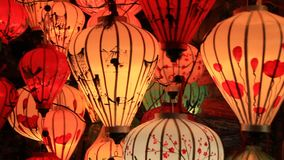 Colorful lanterns in the ancient Asian city stock footage