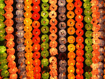 Colorful lanterns in the buddhist temple Royalty Free Stock Photography