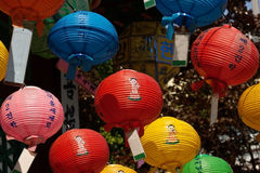 Colorful lanterns in a buddhist temple royalty free stock photos