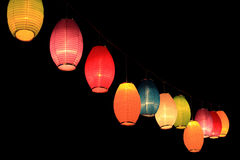 Colorful lanterns in the darkness of night Stock Photo
