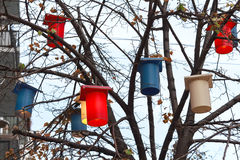Colorful lanterns hanging on the tree Stock Photo