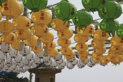 Colorful lanterns. Korean Lanterns hanging in a display at a Bhuddist shrine Royalty Free Stock Photography
