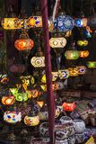 Colorful lanterns lit at night Stock Image