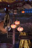 Colorful lanterns lit at night Royalty Free Stock Photos