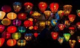 Colorful lanterns at the market street of Hoi An royalty free stock photos