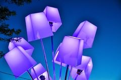Colorful lanterns on the sky background Royalty Free Stock Photos