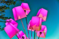 Colorful lanterns on the sky background Stock Photo
