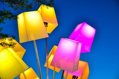 Colorful lanterns on the sky background Stock Photos