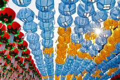Colorful lanterns with sun rays Royalty Free Stock Image