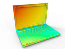 Colorful laptop. 3D render illustration of a colorful laptop filled with different bright gradients. The composition is isolated on a white background with Royalty Free Stock Images
