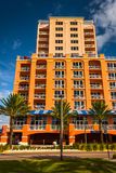 Colorful large hotel in Clearwater Beach, Florida. Royalty Free Stock Photo