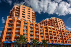 Colorful large hotel in Clearwater Beach, Florida. Royalty Free Stock Photography