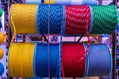 Colorful large strong threads closeup stock photos