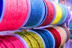 Colorful large strong threads closeup stock illustration