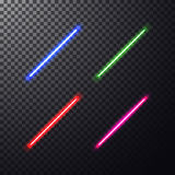 Colorful laser beam. Realistic bright colorful laser beam. Light swords on isolated transparent black background. Weapon futuristic from star war. Vector Stock Photography