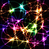 Colorful laser chaos random lines and circles Royalty Free Stock Image