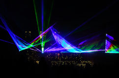 Colorful laser show Stock Images