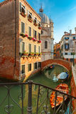 Colorful lateral canal and bridge in Venice, Italy Royalty Free Stock Photo