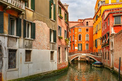Colorful lateral canal and bridge in Venice, Italy Royalty Free Stock Photos