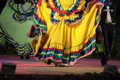 Colorful latino dance show. Mexican folkloric dancers wearing bright opulent dresses at night  stage spectacle Royalty Free Stock Photography