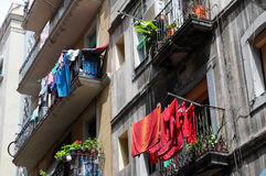 Colorful laundry, Barcelona Royalty Free Stock Photos