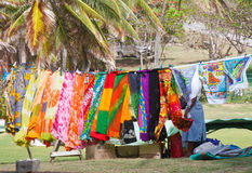 Colorful Laundry on Clothesline in the Tropics Stock Image