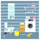 Colorful Laundry Room Elements Concept Stock Photo