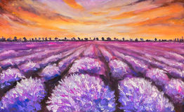 Colorful lavender field at sunset painting. Colorful france lavender field at sunset hand made oil painting on canvas. Impressionist art Stock Photography