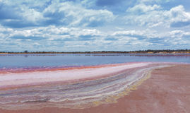 Colorful layers of minerals on the coastline of Lake Crossbie Stock Photography