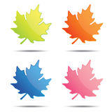 Colorful leaf labels, tags, speech bubbles Stock Photography