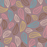 Colorful leaf silhouettes seamless Royalty Free Stock Photo