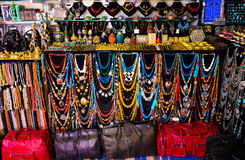 Colorful Trinkets, Leather Bags and Necklaces, Arabic Handicraft Accessories, Sidi Bou Said Market stock images
