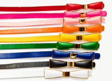 Colorful leather belts Stock Photos
