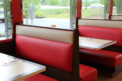 Colorful leather booth seats at the diner stock photo