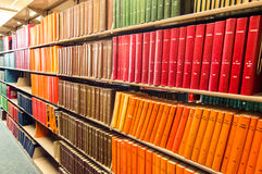 Colorful Leather bound books in a medical library Royalty Free Stock Photos