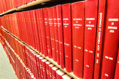 Colorful Leather bound books in a medical library Royalty Free Stock Photo