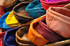Colorful leather cushions Stock Image