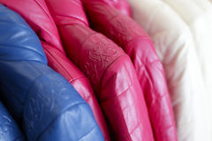 Colorful leather garments Stock Images