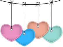 Colorful leather hearts Royalty Free Stock Images