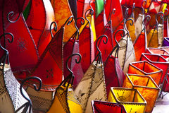 Colorful leather lamps Stock Images