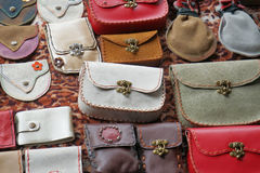 Colorful leather purse collection Royalty Free Stock Photo